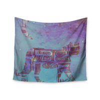 "Marianna Tankelevich ""Panther at Night"" Purple Blue Wall Tapestry"
