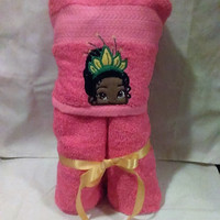 Princess Tiana Hooded Towel Baby or Child Gift Personalized Hooded Towels Teen or Adult Hooded Towel Custom Hooded Towel Pool Towel Handmade