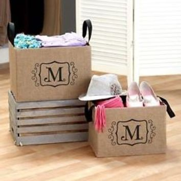 "Set of 2 Burlap Monogram Letter ""M"" Storage Bins Organizers Kid's Toys Books"
