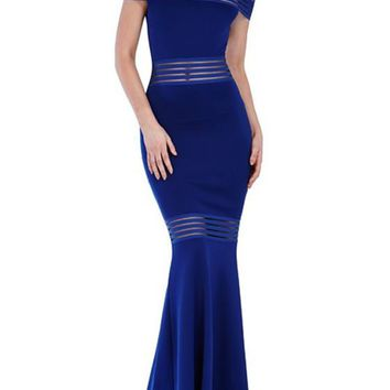 Blue Patchwork Grenadine Bandeau Boat Neck Mermaid Homecoming Maxi Dress
