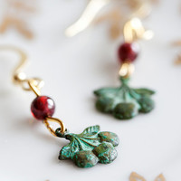 Patina Cherry Earrings Red Bead Verdigris Cherry Dangle Green Earrings - E049