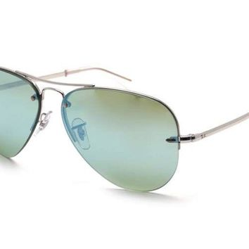 Ray Ban Dark Green/Silver Mirror Aviator Sunglasses RB344990433059 Unisex $178