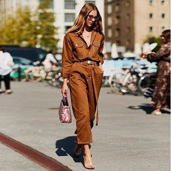 Women Casual Fashion Denim Lapel Long Sleeve Romper Jumpsuit Jeans Trousers