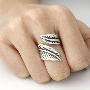 Dainty Open Double Leaf Charm Ring Men Nature jewelry Anel Antique Silver Layer Knuckle Rings