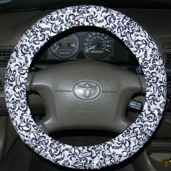 Chic Baroque Steering Wheel Cover, Cute Girly Cotton Car Wheel Cover, Made in USA