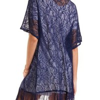 Lace Fringe Kimono Top by Charlotte Russe