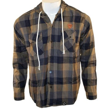 Peter Says Denim - Navy Plaid Adult Long Sleeve Button-Up T-Shirt