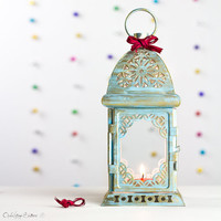 Sky Blue Beach Home Decor Moroccan Decor Candle Holder Lantern Scheherazade Metal Lantern Golden Shabby Chic by OpenVintageShutters