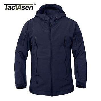 TACVASEN Army Camouflage Men Jacket Military Tactical Jacket Men Soft Shell Waterproof Windproof Hunt Jacket Coat Raincoat 4XL