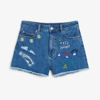 Monki | View all new | Treehugger embroidered denim shorts
