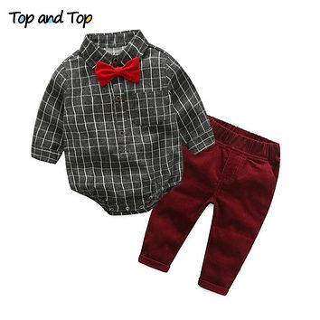 {TOP and TOP} Baby Boy Clothes Newborn Clothing Sets Broad Cloth Baby Brand Gentleman Fashion Plaid T-shirt + Jeans 2Pcs/set