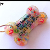 Fruit & Candy Sprinkles Bone Dog Tag - Night Glow - Personalized Custom Handmade Dog Pet ID - Resin - Colorful Glitter Dog Collar Accessory from G Creations