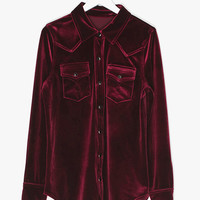 Retro Burgundy Velvet Shirt