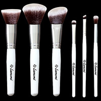 Blush Brush Set - Professional Makeup Kit with 6 Essential Face and Eye Makeup Brushes - Kabuki Eyeshadow Powder Foundation Eyeliner - Synthetic Bristles of Premium Quality for Airbrushed Finish - Available in White and Black