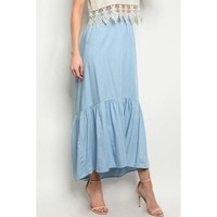 Light Denim Mid Length Skirt