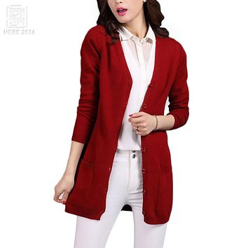 2016 Classic Cardigans V-neck Fashion Basic Women Wool Knitted Pocket Cardigan Long Sheep Wool Women Sweater Jacket Femme Mander