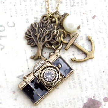 Camera, Tree and Anchor Necklace with Pearl Accent