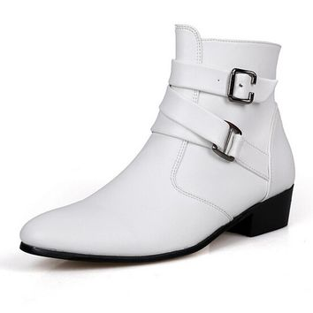 British Style Autumn Winter Men Boots 2017 Fashion Pointy Buckle Ankle Boots Casual Genuine Leather Shoes White Black Brown 3A