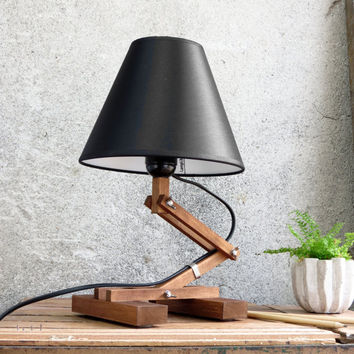 Plat I, adjustable wooden table lamp office home minimaistic clean simple E27 desk living room bedroom night lighting textile shade, Paladim
