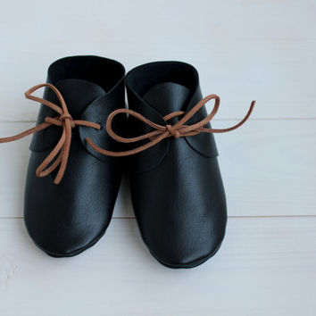 Baby boy black leather moccasins Newborn, infant, toddler soft shoes