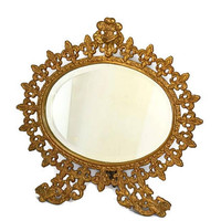 Antique Oval Vanity Mirror, Art Nouveau Dresser Mirror Easel Back