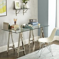 Cross-Base Desk - Polished Nickel