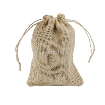 17x12CM Natural Jute Hessian Drawstring Pouch Burlap Wedding Favor Gift Bag