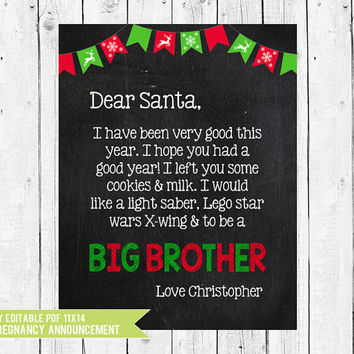 Christmas pregnancy announcement, big brother letter to santa, big brother photo prop, Christmas pregnancy sign, PDF you edit inADOBE READER