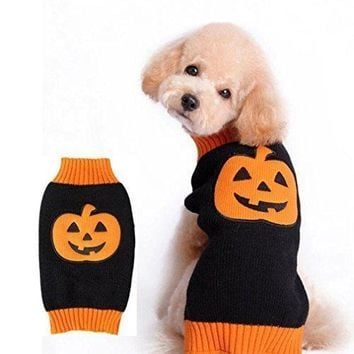 Small & Big Dog Clothes Pumpkin Halloween, Gotd Pet Dog Cat Puppy Costumes Dressing Up Party, Festival Warm Sweater Knitwear (S, black)