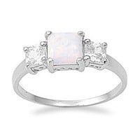 Sterling Silver Square White Created Opal Cz Ring (Size 5 - 10)