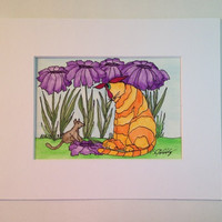 "Cat Painting, Watercolor, Original, Orange Tabby and Playful Little Mouse in the Purple Daisies,""Cat Tails"" #14,  Not a Print"