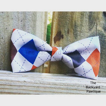 Argyle bowtie collar slider, colorful bowtie, bowties for dogs, dapper bowties for pets, pets neckwear