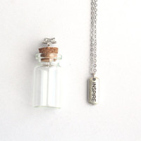 INSPIRE Mantra Charm, Silver Necklace with  in a tiny glass bottle packaging