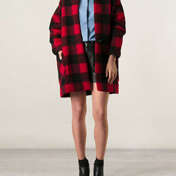 BNWT ETOILE ISABEL MARANT GABRIE RED PLAID CHECK COAT JACKET 34 XS