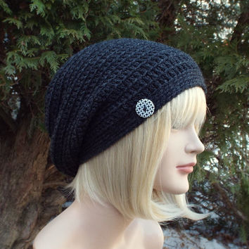 Dark Charcoal Gray Slouch Beanie - Womens Slouchy Crochet Hat - Ladies Oversized Cap with Button - Hipster Hat - Baggy Beanie