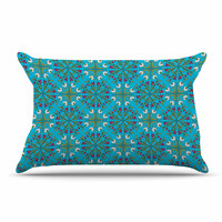 "Mayacoa Studio ""Morrocan Tile In Blue"" Geometric Floral Pillow Case"