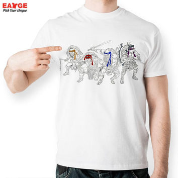 [EATGE] Pencil Hand Drawn Tee Teenage Mutant Ninja Turtles Cartoon Tshirt Movie Tee Mask Cool T-shirt Fashion TMNT T Shirt