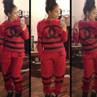 DCCKCO2 CHANEL' NIKE Sport suit color matching stitching letters printing hooded fashion suits Red [2974244295]