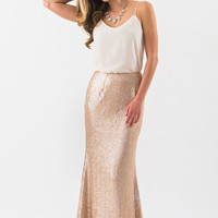 Julianna Champagne Sequin Maxi Skirt