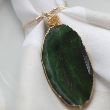 Green Agate Tassel Napkin Ring