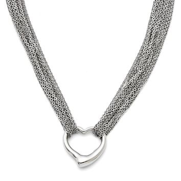 Heart Multi-Strand Necklace in Stainless Steel - Toggle Cable Chain