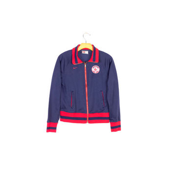 NIKE RED SOX track jacket / boston mlb official / retro baseball / classic / navy blue & red / jersey / athletic / sporty / womens S - M