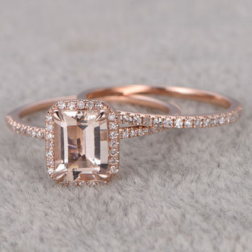 2pcs Emerald Cut Morganite Wedding Set Half Eternity Diamond Bridal Ring 14k Rose Gold Thin Pave Band