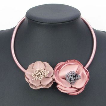 2017 New Handmade 5 color Fabric Flower Elegant Statement Choker Necklace Leather Fashion Jewelry Pendant Girl Woman Xmas Gift
