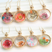 Dried Flower Round Locket Pendant Charm Chain Necklace Jewelry