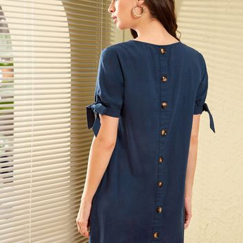 Button Back Knotted Cuff Tunic Dress
