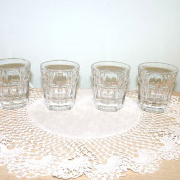 Pasabahce Shot or Shooter Glasses x 4, Saloon Glasses, Barrel Shape, Clear Glass, Snifter, Liqueur, Barware, Glassware, octagonal