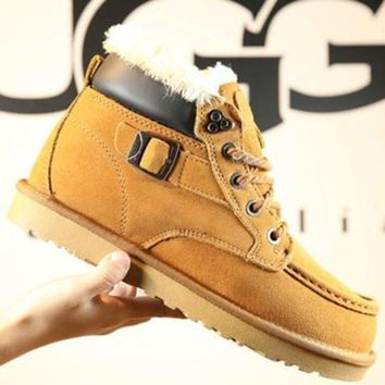 CREY1O UGG' Women Men Fashion Wool Calfskin Boots Shoes