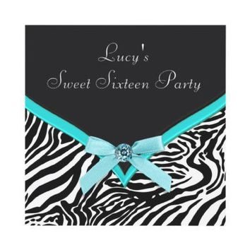 Teal Zebra Sweet 16  Birthday Party Invite from Zazzle.com