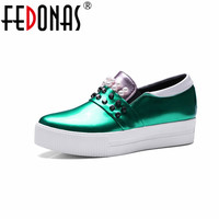 FEDONAS Woman Pumps Sexy Simple Shoes Wedges Heel Platforms Summer Spring Round Toe Ladies Casual Shoes Large Size 41 42 43
